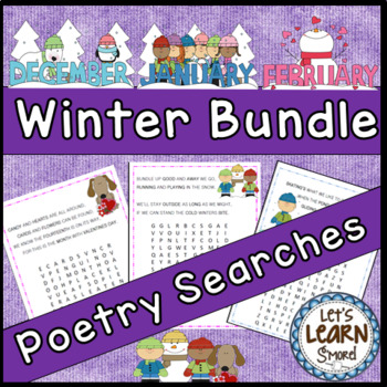 Winter Activities Winter Poetry Searches, Winter Themed Word Search Bundle
