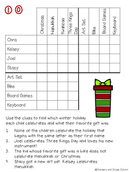 Sly image with christmas logic puzzles printable