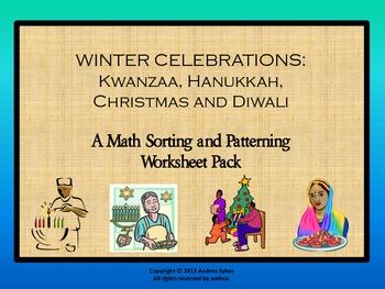 WINTER CELEBRATIONS: Kwanzaa, Hanukkah, Christmas and Diwali - Math Worksheets
