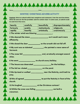 WINTER/ CHRISTMAS ADVERB ACTIVITY