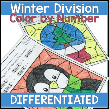 WINTER & CHRISTMAS Division Color by Number Coloring Pages DIFFERENTIATED