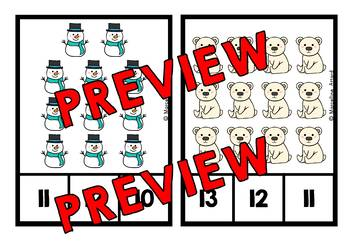 WINTER COUNTING TO 20 CLIP CARDS (KINDERGARTEN MATH CENTERS)