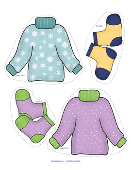WINTER Clothes Sorting Center and Supporting Printables for Preschool