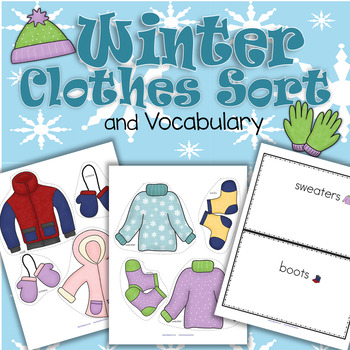 WINTER Clothes Sorting Center and Supporting Printables fo