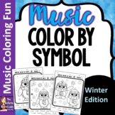 Winter Color by Music Symbol Coloring Sheets