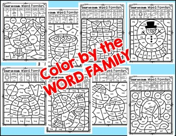 WINTER - Color by the WORD FAMILY {INCLUDES DIGITAL RESOURCE}