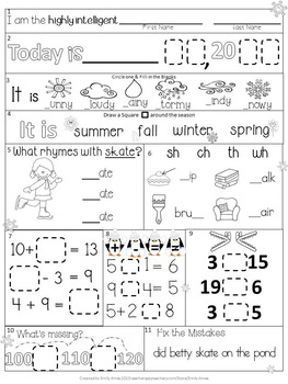 Morning Work Bundle: First Grade Winter Packets (December, January, February)