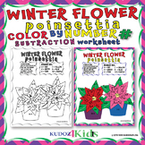 WINTER FLOWER, POINSETTIA COLOR BY NUMBER - SUBTRACTION
