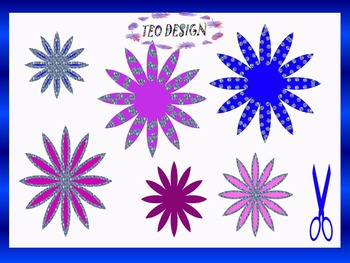 Winter Activities - Crafts - Glitter Winter Flowers - Clip Art