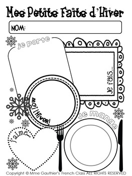 *FREEBIE* FRENCH WINTER WRITING ACTIVITY SET