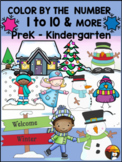 WINTER FUN - COLOR BY NUMBER 1-10 AND COLORING PAGES-33 PAGES