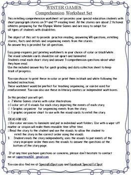 WINTER GAMES Reading Comprehension RETELLING Mini Set * SPECIAL EDUCATION