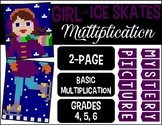 WINTER GIRL WITH ICE SKATES 2-page Mixed Multiplication My