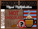 WINTER HOT CHOCOLATE Mixed Multiplication Color by Number