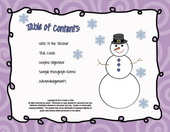 WINTER Holiday-themed Writing Task Cards with Planner and Rubric
