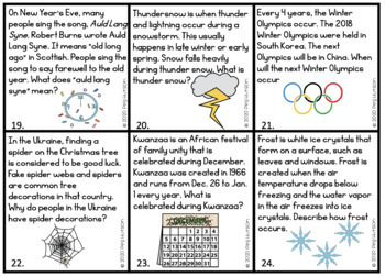 Winter Inferencing and Listening Comprehension Cards