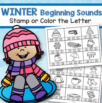 winter beginning sounds stamp or color free by kidsparkz tpt. Black Bedroom Furniture Sets. Home Design Ideas