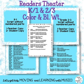 Winter and January Songs, Poems, Readers Theater with Literacy Activities K-3