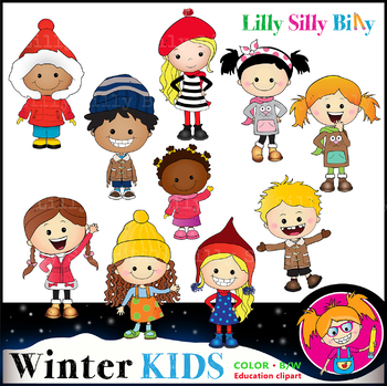 WINTER KIDS Clipart set. BLACK AND WHITE & Color Bundle. {Lilly Silly Billy}
