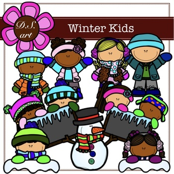 WINTER KIDS Digital Clipart (color and black&white)