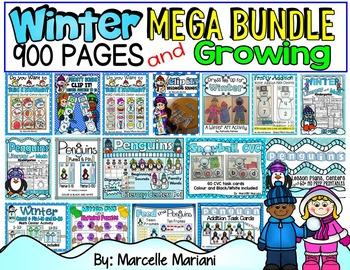 KINDERGARTEN LITERACY AND MATH- MEGA BUNDLE PACK-WINTER THEME