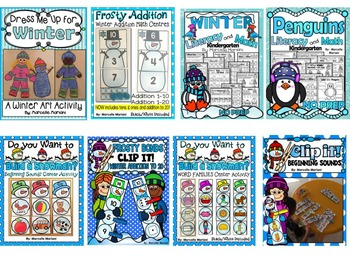 WINTER KINDERGARTEN LITERACY AND MATH- MEGA BUNDLE PACK-WINTER THEME