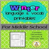 WINTER Language and Vocabulary Printables for Middle School Speech Therapy