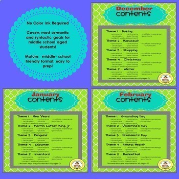 WINTER Language & Vocabulary Printables for Middle School Speech Therapy Bundle
