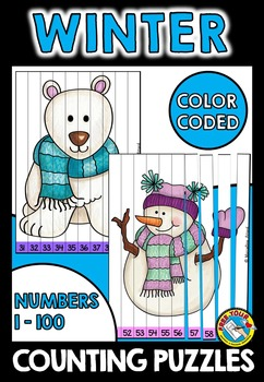 WINTER COUNTING PUZZLES (NUMBERS 1 TO 100 WINTER MATH CENTER)