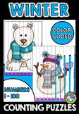 WINTER COUNTING PUZZLES (DECEMBER ACTIVITY KINDERGARTEN) NUMBERS TO 100 CENTER