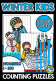 WINTER ACTIVITY KINDERGARTEN (COUNTING TO 100 GAME PUZZLES)