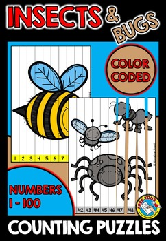 SPRING MATH CENTER KINDERGARTEN (INSECTS COUNTING PUZZLES) NUMBERS TO 100 GAME