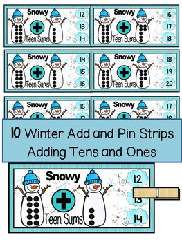 WINTER- MATH CENTER- Add and Pin (1-10 and 10's &1's) Color+Black/White