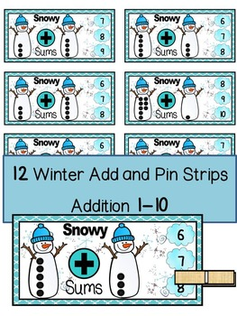 WINTER SNOWMEN ADDITION MATH CENTER ACTIVITY- Add and Pin (1-10 and 10's &1's)