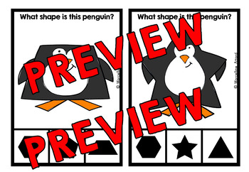 PENGUINS KINDERGARTEN WINTER MATH CENTER (PEGUIN SHAPES CLIP CARDS)
