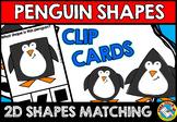 PRESCHOOL WINTER ACTIVITIES KINDERGARTEN (PENGUIN SHAPES CLIP CARDS)