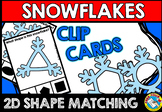 PRESCHOOL WINTER MATH CENTER (KINDERGARTEN SNOWFLAKES SHAPES CLIP CARDS)