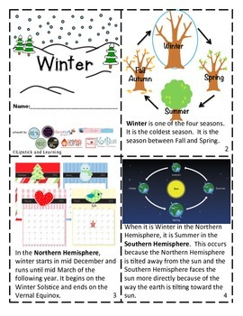 WINTER MINI READER, VOCABULARY CARDS, FOLDABLE & MAP