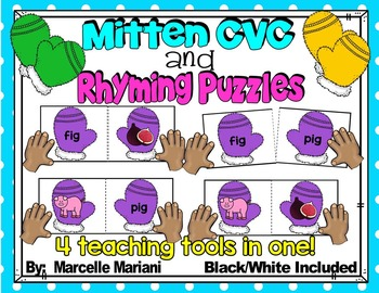 Rhyming activities-WINTER LITERACY CENTRE- Rhyming Puzzle Cards (winter mittens)