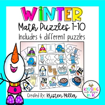 WINTER Math Puzzles Numbers 1-10- Includes 4 Different Puzzles!