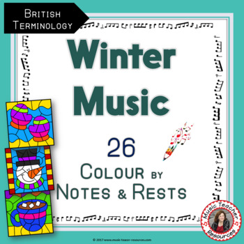 WINTER Music: 26 Colour by Music Notes and Rests
