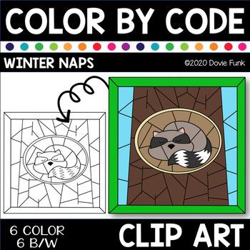 WINTER NAPS Color by Code Clip Art HIBERNATION