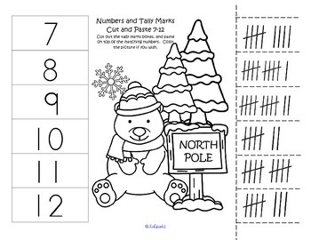 WINTER Numbers 1-12 Cut and Paste Match 10-Frames Tally Marks FREE