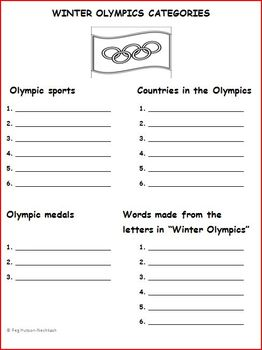 WINTER OLYMPICS CATEGORIES: FREEBIE