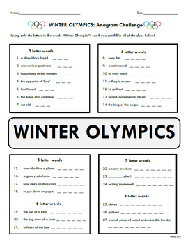 WINTER OLYMPICS Worksheet BUNDLE (5 worksheets)
