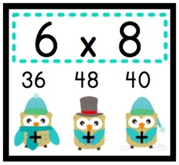 WINTER Owl MULTIPLICATION Facts Poke Game