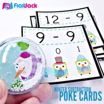 WINTER Owl SUBTRACTION Facts Poke Game