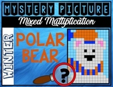 WINTER POLAR BEAR Mixed Multiplication Color by Number Mys