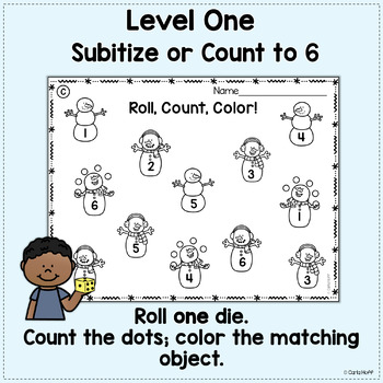 WINTER Roll! Count! Color!  Printables for Counting and Adding Within 12