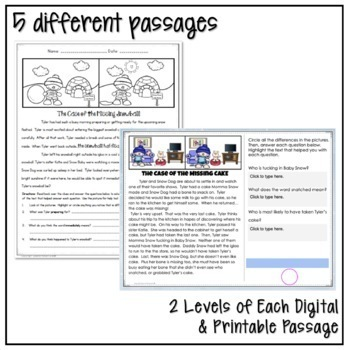 WINTER SNOW FAMILY CLOSE READING COMPREHENSION PRACTICE MYSTERY PASSAGES NO PREP